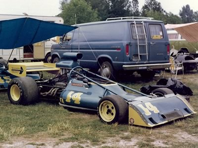 The Scuderia France McRae GM1 with extravagant roll protection in the paddock at Portland in 1975 or 1976. Copyright Brent Martin  2011. Used with permission.