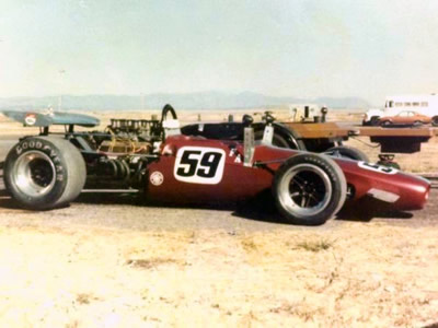 Ken Petrie's SL140/9 at Pueblo Raceway in 1977.  Although identified elsewhere as Petrie's later T142, a photograph on Chuck Haines' site shows identical livery. Copyright Evan McGreevy (originally taken by Ken Petrie and acquired by Evan McGreevy with the T140) . Used with permission.