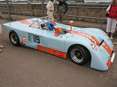 Robin Harvey in the Gulf liveried B19 at the Silverstone Classic in 2005. Copyright Pieter Melissen 2009. Used with permission.