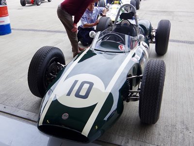 Georgio Marchi's Cooper T53 at the Silverstone Classic in 2017. Licenced by David Merrett under Creative Commons licence Attribution 2.0 Generic (CC BY 2.0). Original image has been cropped.