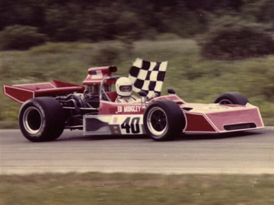Ed Midgley winning an SCCA race in the re-nosed Mk 18 in 1976.  Copyright Ed Midgley 2004.  Used with permission.