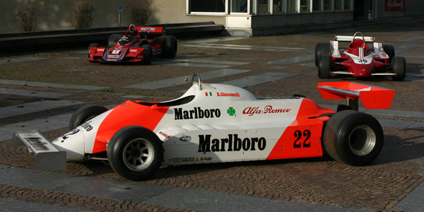 The unraced carbon-fibre Tipo 179F in the courtyard of the Arese museum, with the museum's Brabham BT45 and Alfa 177 behind it. Copyright Roberto Motta  2017. Used with permission.