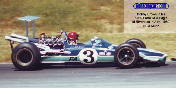 Bobby Brown in his Eagle at Riverside in 1969.  Copyright Gil Munz.  Used with permission.