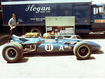 Chuck Dietrich in the Hogan Racing Lola T142 at Riverside in 1969.  Copyright Gil Munz 2006.  Used with permission.