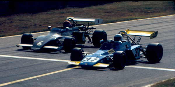 Southern Pacific FB drivers Olney Mairs (Brabham BT40) and Byron Hatten (March 722) at the 1973 Runoffs.  Copyright R. Allen Olmstead. Used with permission.