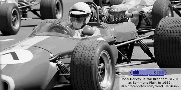 John Harvey in the Brabham BT23E at Symmons Plain in 1969. Copyright oldracephotos.com/Geoff Harrisson.  Used with permission.