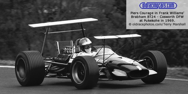 Piers Courage in Frank Williams? Brabham BT24 - Cosworth DFW at Pukekohe in 1969.  Copyright oldracephotos.com/Terry Marshall.  Used with permission.