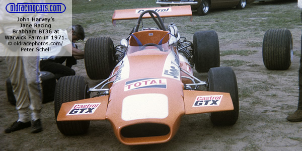 John Harvey?s Jane Racing Brabham BT36 at Warwick Farm in 1971.  Copyright oldracephotos.com/Peter Schell.  Used with permission.