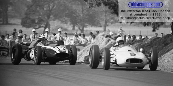 Bill Patterson leads Jack Hobden during practice for the Australian Grand Prix at Longford in 1965.  Copyright oldracephotos.com/David Keep.  Used with permission.