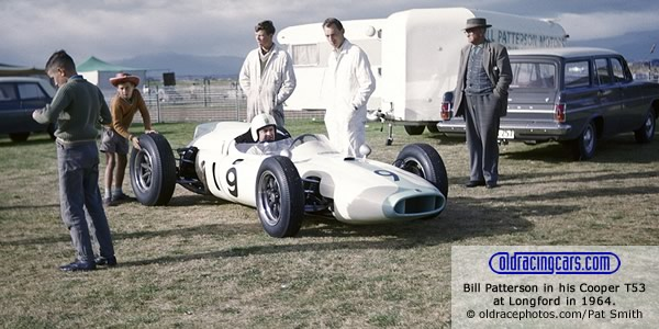 Bill Patterson in his Cooper T53 at Longford in 1964. Copyright oldracephotos.com/Pat Smith.  Used with permission.