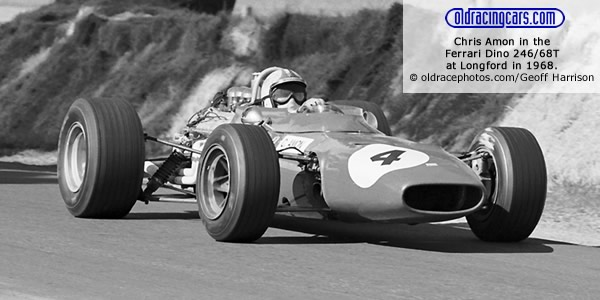 Chris Amon in the Ferrari Dino 246/68T at Longford in 1968. Copyright oldracephotos.com/Geoff Harrison.  Used with permission.