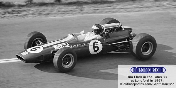 Jim Clark in the Lotus 33 at Longford in 1967.  Copyright oldracephotos.com/com/David Keep.  Used with permission.