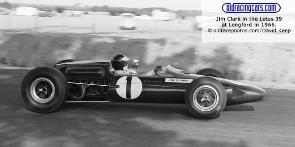 Jim Clark in the Lotus 39 at Longford in 1966.  Copyright oldracephotos.com/com/David Keep.  Used with permission.