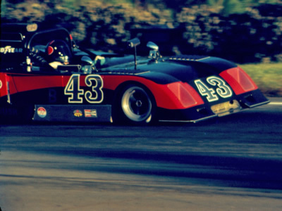 Bill Roush racing his Chevron B19/26 in the 1975 Run-Offs. Copyright R. Allen Olmstead. Used with permission..