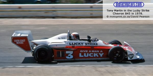 Tony Martin in the Lucky Stripe Chevron B45 at Kyalami in 1978.  Copyright motoprint.co.za/David Pearson.  Used with permission.