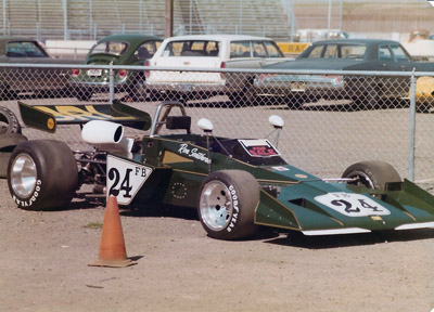 Ron Southern's Brabham BT40 for sale in the Sears Point paddock in 1973 or 1974. Copyright Vincent Puleo 2020. Used with permission.