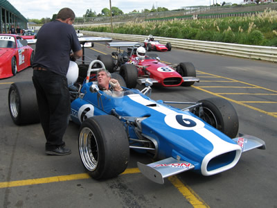 Steve Ward in his Lola T142 in the pit lane at Pukekohe in January 2006. Copyright Marcus Pye  2006. Used with permission.