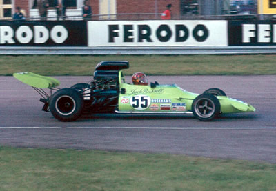 Jock Russell's bright green Mcrae GM1 at the International Trophy in 1973.  Copyright Rob Ryder 2001.  Used with permission.
