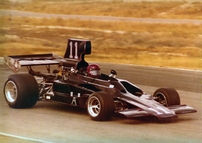 Floyd Sable driving his T300 with T332 bodywork at Riverside in 1974 or 1975. Copyright Floyd Sable  2016. Used with permission.