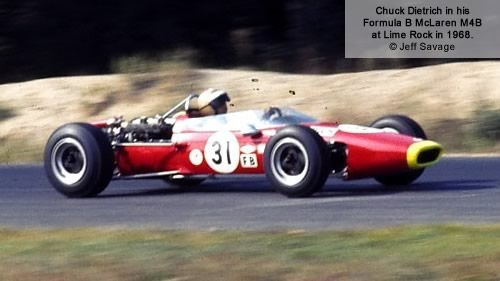 Chuck Dietrich in his Formula B McLaren M4B at Lime Rock in 1968.  Copyright Jeff Savage 2011.  Used with permission.