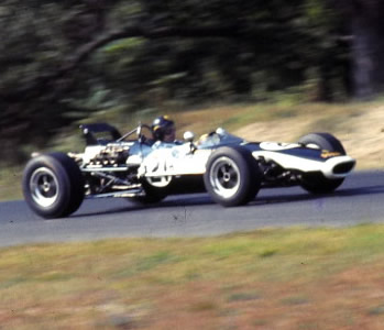 Peter Broeker in the Stebro-Chevron at Lime Rock in September 1968. Copyright Jeff Savage 2004. Used with permission.