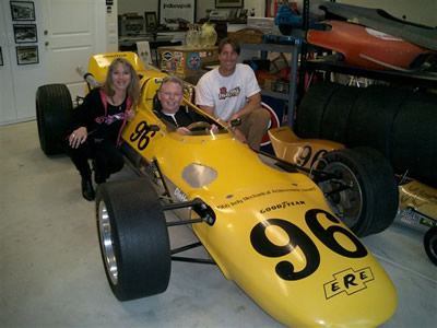 Greg Weld was reacquainted with the restored 1966 Eisert when he visited the Eisert family a few weeks after Jerry Eisert's death in March 2006. Pictured with his are Jerry's daughter Lorrie and son Mike. Copyright Sherry Schaeffer 2006. Used with permission.