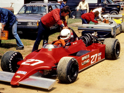 Bob Katz in the Toleman/Lola T860 at Blackhawk Farms Raceway in May 1983. Copyright Tom Schultz  2012. Used with permission.