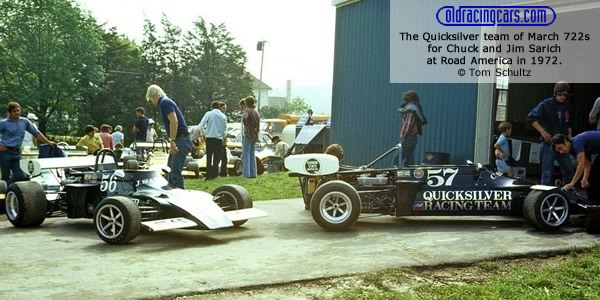 The Quicksilver team of March 722s for Chuck and Jim Sarich at Road America in 1972.  Copyright Tom Schultz 2012.  Used with permission.