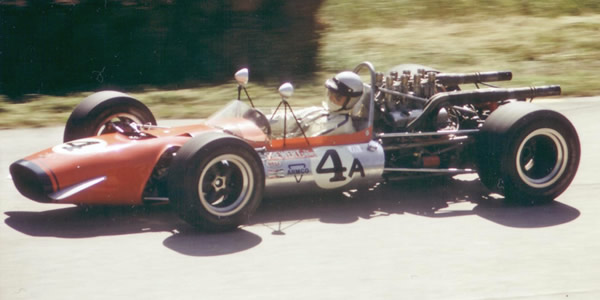 Mak Kronn in Ike Uihlein's McKee Mk 8 at Road America in July 1968. Copyright Tom Schultz  2003. Used with permission.