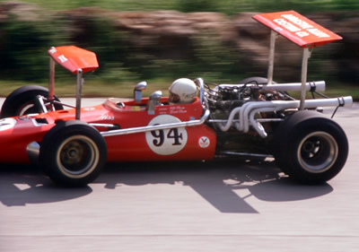"The highly modified T140 of Mike Hiss at the Road America ""500"" in July 1969. Copyright Tom Schultz  2006. Used with permission."
