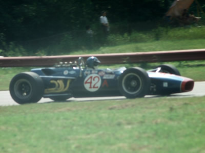 David Pabst's Lola T140 in the Badger 200 at Road America in 1968. Copyright Tom Schultz  2006. Used with permission.