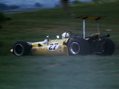 Rich Galloway in his early-season T142 at Road America in July 1969.  Copyright Tom Schultz 2006.  Used with permission.
