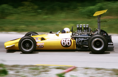 Dick Simon's Lola T142 at Road America in July 1969.  Copyright Tom Schultz 2006.  Used with permission.