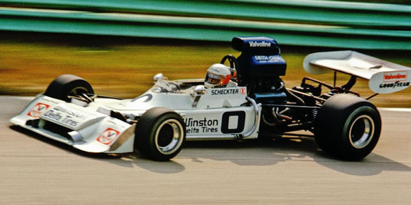 Jody Scheckter in Jerry Entin's Trojan T101 at Road America in 1973. Copyright Tom Schultz  2010. Used with permission.