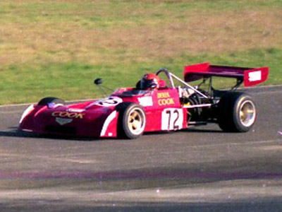 Derek Cook in his Chevron B27 at Thruxton in November 1974. Copyright Andrew Scriven  2010. Used with permission.