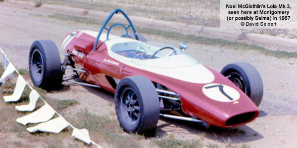 The Lola Mk 3 of 1966 champion Noel McGlothlin, seen here at Montgomery (or possibly Selma) in 1967.  Copyright David Seibert 2012.  Used with permission.