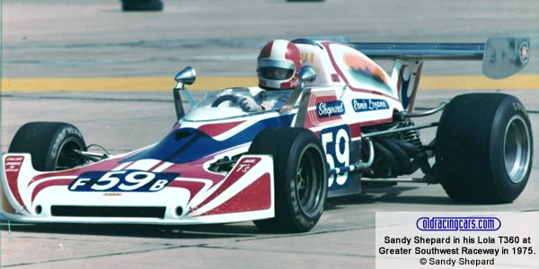 Sandy Shepard in his Lola T360 at Greater Southwest Raceway in 1975. Copyright Sandy Shepard 2019.  Used with permission.