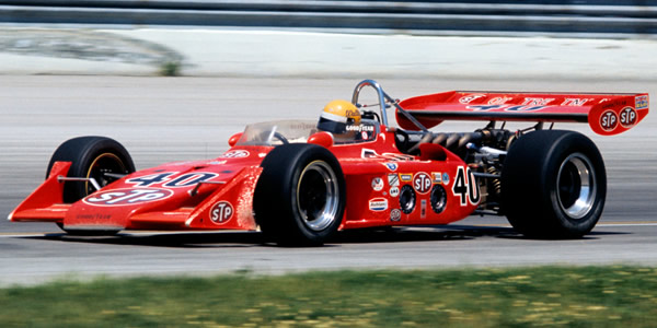 Wally Dallenbach in the STP Oil Treatment Eagle '72 of Patrick Racing at Milwaukee in 1973. Copyright Glenn Snyder 2015. Used with permission.