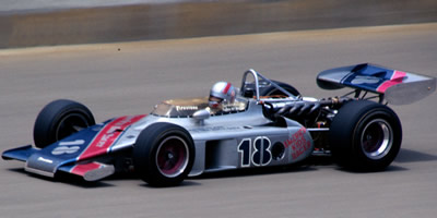 Bill Simpson in Richard Beith's American Kids Racer 1972 Eagle at the 1974 Indy 500. Copyright Glenn Snyder 2015. Used with permission.