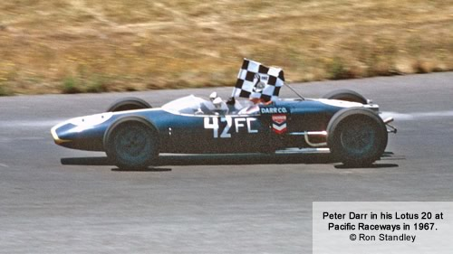 Peter Darr in his Lotus 20 at Pacific Raceways in 1967. Copyright Ron Standley 2012.  Used with permission.