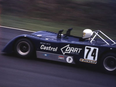 The first DART Chevron B19 on its debut at Brands Hatch in April 1971 where it was driven by John Miles and Graham Birrell. Copyright Gerald Swan 2009. Used with permission.