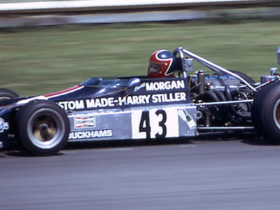 Dave Morgan in the Chevron B25 at Brands Hatch in July 1974. Copyright Gerald Swan  2014. Used with permission.