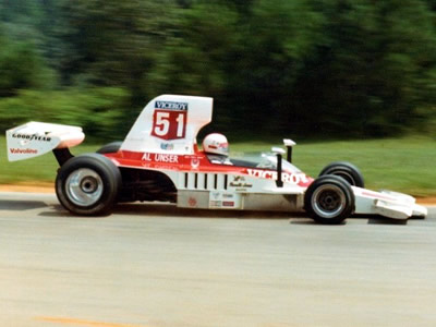 Al Unser in 1975, probably in HU35.  Copyright Russ Thompson 2002. Used with permission.