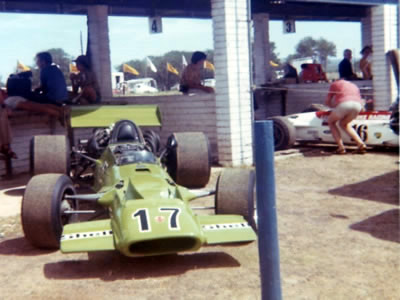 This picture taken in the pits at Killarney almost certainly shows Rob Thomas's TS5A.  In the background is the sister TS5A still in Blignaut's Lucky Stripe colours, implying it was taken early 1973. Copyright Danie van den Berg  2005. Used with permission.