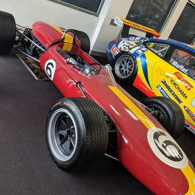 The Bob Jane Brabham BT11A on display in the Bob Jane T-Marts HQ in South Melbourne in August 2019. Copyright Andrew Mattock 2019. Used with permission.