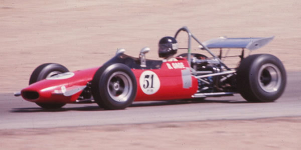 Bob Gage in his Brabham BT23G at Willow Springs in 1971 or 1972. Copyright Allen Brown  2014. Used with permission.