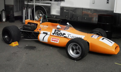 Bruce Hamilton's ex-John Harvey Brabham BT30/BT36 at the Watkins Glen Vintage GP in 2011. Copyright Geoff Cotton 2018. Used with permission.