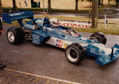 Mick Cataroch in his Brabham BT40 at a Guernsey hillclimb. Copyright Phil Le Page 2019. Used with permission.
