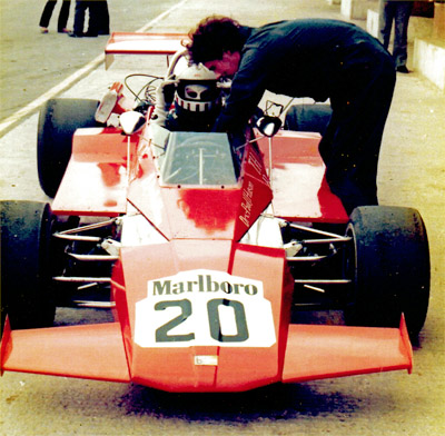 Paul Hutson's Brabham BT40 testing at Donington Park in 1977. Copyright Paul Hutson 2019. Used with permission.