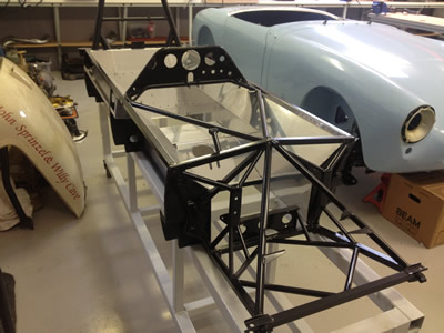 Michael Henderson's Chevron B20 stalled in mid-restoration in 2016, giving a good view of the bathtub monocoque construction. Copyright Michael Henderson  2016. Used with permission.